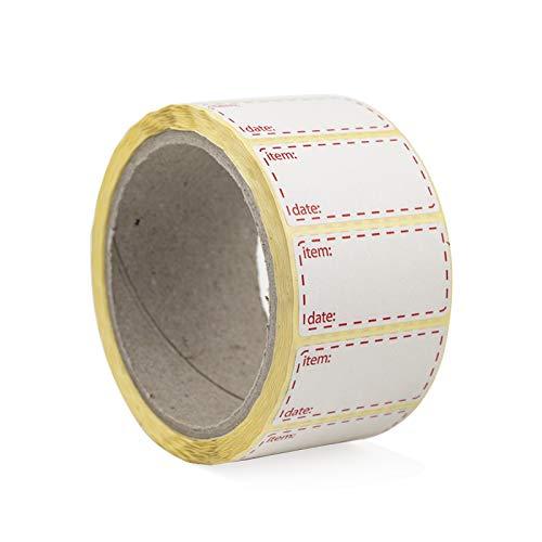 Palucart - Lote de 500 etiquetas adhesivas para congelador, 50 x 25 mm, color blanco y rojo