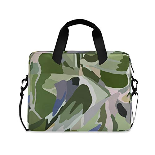Green and Blue Camouflage Color Laptop Case Bag Sleeve Portable Crossbody Messenger Briefcase Attache Casew/Strap Handle, 13 14 15.6 inch