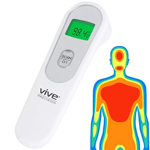 Vive Precision Infrared Forehead Thermometer - No Touch for Adults and Kids - Touchless Digital Sensor for Body Temp - Non-Contact Temporal Artery Fever Indicator - Instant Read Temperature