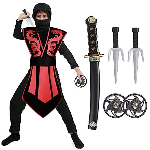 Tacobear Costume da Ninja per Bambino Ninja Abbigliamento Costume da Festa di Halloween per Ragazzo 3 - 12 Anni (M(5-7 anni))