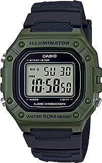 Casio W-218H-3AVCF Reloj Digital Illuminator para Caballero con Correa de Resina, color Verde Militar