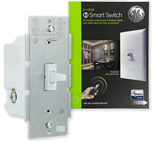 GE 14292 Enbrighten Z-Wave Plus Smart Light Switch, Works with Alexa, Google Assistant, SmartThings, Zwave Hub Required, Repeater/Range Extender, 3-Way Ready, 1st Gen. Toggle, White 1-pack