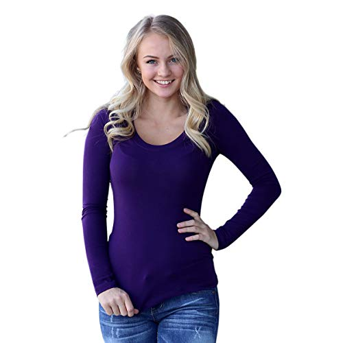 Zenana Outfitters Long Sleeve Scoop Neck Tee Dark Purple