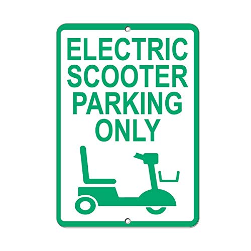 PotteLove Electric Scooter Parking Only Parking Aluminium Metal Signs Tin Plaque 8