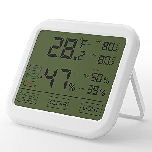 Digitales Thermometer Hygrometer, Thermo-Hygrometer Luftfeuchtigkeitsmessgerät mit Magnethalterung, ℃ / ℉ Schalter und Hohen Genauigkeit, Innen und Außen Ideal zum Babyraum, Wohnzimmer, Büro usw