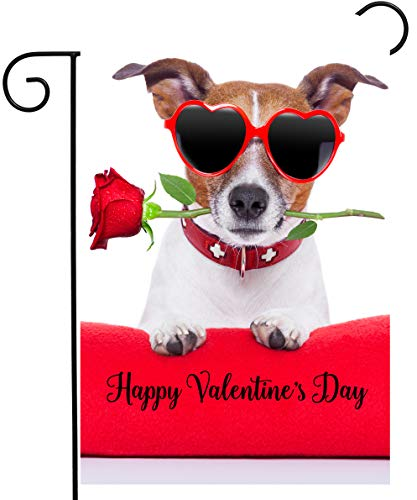 "ShineSnow Happy Valentines Day Funny Hipster Dog with Red Rose Flower Garden Yard Flag 12""x 18"" Double Sided Polyester Welcome House Flag Banners for Patio Lawn Outdoor Home Decor"