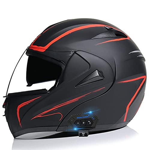 Cascos Bluetooth para motocicleta, casco modular integrado con Bluetooth, casco de motocicleta de cara completa, doble visera modular Bluetooth, casco aprobado por DOT/ECE 7, L = (57 ~ 58 cm)
