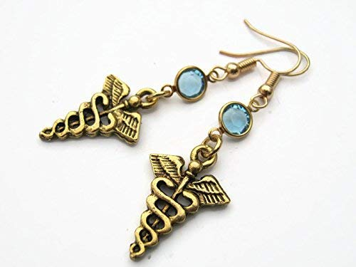 DELAYED SHIP Sale Gold Caduceus Birthstone Earrings Nurse Gift 24K Gold Plated Medical Symbol Earrings Medi Personalized Doctor Earrings