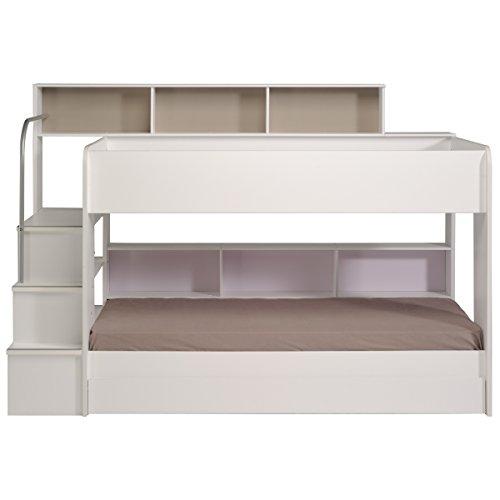 90×200 Kinder Etagenbett Weiß/grau mit Bettkasten Treppe und Geländer - 2