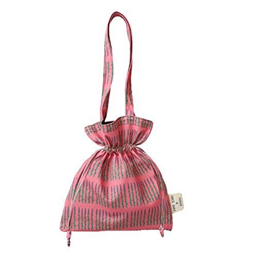LUGUMU Damen Handtaschen,Canvas Glatte Satin-Tragetasche Mit Kordelzug Umweltschutz Große Kapazität Für College Wandern Reise Business,Pink