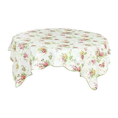 Mantel de vinilo plástico DyniLao para mesas cuadradas de 53'x 53' con estampado de flores de primavera, decoración de mantel para bodas/fiestas, sin costuras resistente a las manchas de agua/ac