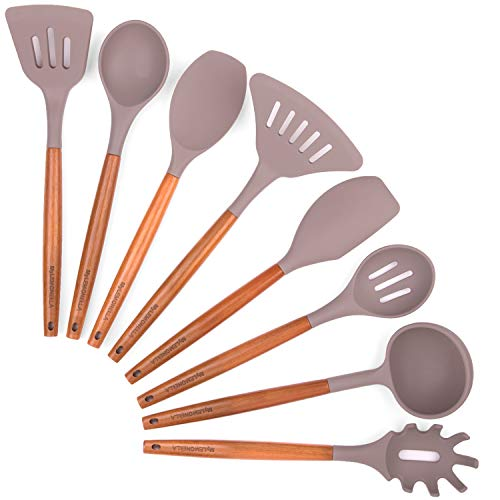 MyLEMONELLA Silicone Kitchen Utensil Set with Wooden Handles, No-Fuss Cooking, Heat Resistant, Food...