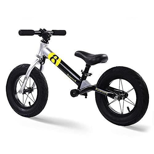 ZLI Bicicleta Equilibrio Bicicleta de Equilibrio Ligera con Asiento Ajustable, 2-6 Años Niño, Bicicleta para Caminar de Aluminio Sin Pedal, Neumáticos a Prueba de Fugas de 12 Inch (Color : Gray)