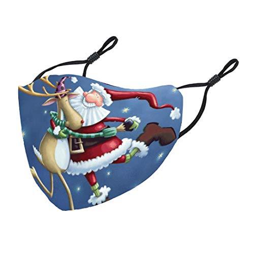 FantaisieZ Erwachsene Mouth and Nasenschutz Weihnachten 6D Druck Bandana Maske Multifunktionstuch Motiv Bunt MNS Staubdicht Mehrweg Atmungsaktiv Mundschutz mit Motiv Halstuch Damen Herren