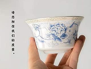 MIMBO Chinese Jingdezhen Porcelain Gaiwan Tea Cup Kungfu Tea bowl 6.7OZ ,Peony…