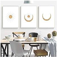 抽象ローズゴールド風景太陽と月のシーン自由奔放に生きるキャンバスプリント絵画壁の写真ポスター装飾70x100cmx3Pcsフレームレス