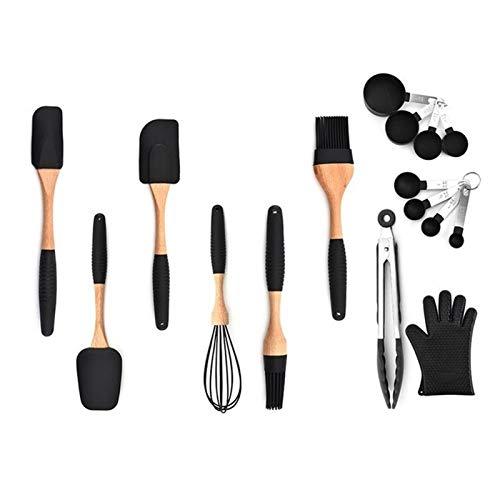 JINSUOZY DXXLD Silikon Holz Turner Suppenlöffel Spachtel Bürstenabstreifer Pasta Handschuhe Egg Beater Küche, die Werkzeug Küchen (Color : 10 Pieces A)