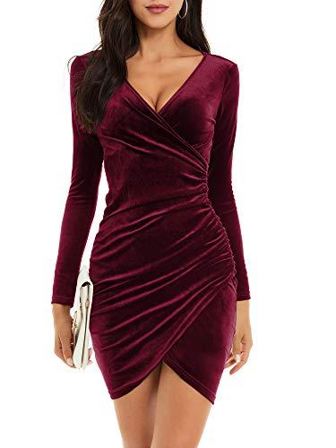 MSBASIC Winterkleid Weihnachtskleider Damen Weihnachts Damen Kleid Damen Rot Samtkleid Klein, Weinrot-Langarm