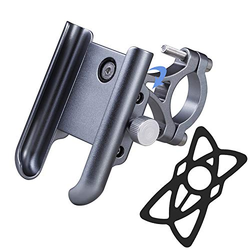 iMESTOU Aluminium Bike/Motorcycle Phone Mount Handlebar Phone Holder 360 Rotatable Compatible with Samsung Galaxy Note10/10+ iPhone Xs/XR 3.5-7.2inch Cellphones (Titanium)