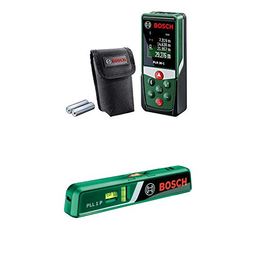Bosch Laser Messgerät PLR 30 C mit Laser-Wasserwage PLL 1P (3x AAA Batterien, Messbereich: 0,05 - 30 m, App-Funktion, im Karton)