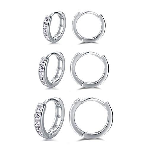 Silver Hoop Earrings for Women, 3 Pairs Small Sterling Silver Post Huggie Earrings   Cubic Zirconia Cartilage Cuff Earrings Hoop Piercing Jewellery for Girls Men Teens (8mm/10mm/12mm)