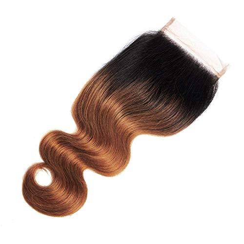YUJY Péruvienne Ombre Cheveux 1b / 30 Cheveux de Corps Bundles dentelle fermeture un faisceaux 100g 22 pouces