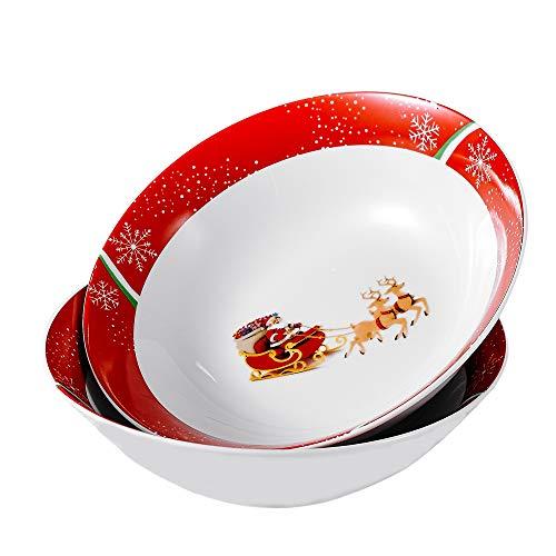VEWEET Serie CHRISTMASDEER Zuppiere Set in Porcellana Servizio di Ciotola Grande per Zuppa 2 Pezzi Ciotole Natalizio Slitta di Babbo Natale 1125ml