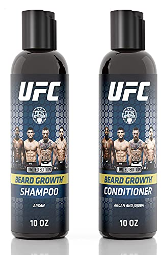 UFC Growth Beard Wash and Conditioner Set - Beard Shampoo w/ Beard Oil and Biotin to Promote Healthy Growth (10oz)