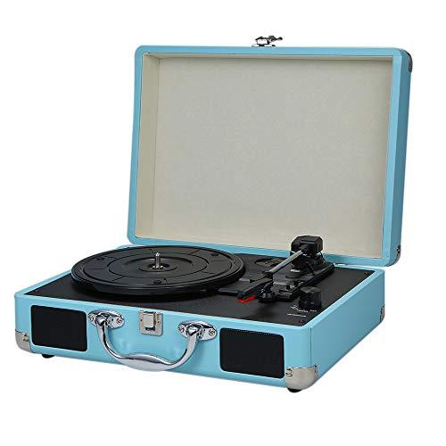 Tocadiscos de Vinilo Portátil con Altavoces Fonógrafo Vintage Sonido Estéreo Bluetooth Tocadiscos Inalámbricos Diseño de Maleta de Madera de Cuero PU de 3 Velocidades,Blue