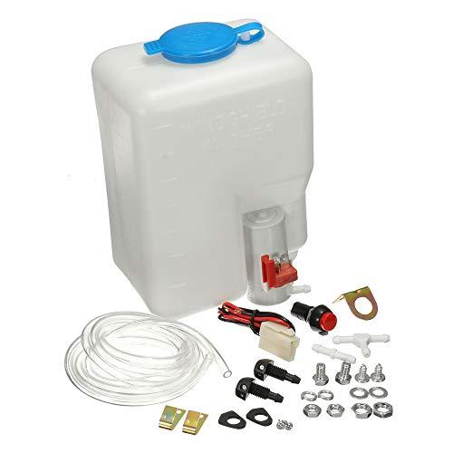 Lechnical Kit de Tanque de Botella de Lavadora Universal Bomba 12V 1.8L Depósito del Sistema de limpiaparabrisas