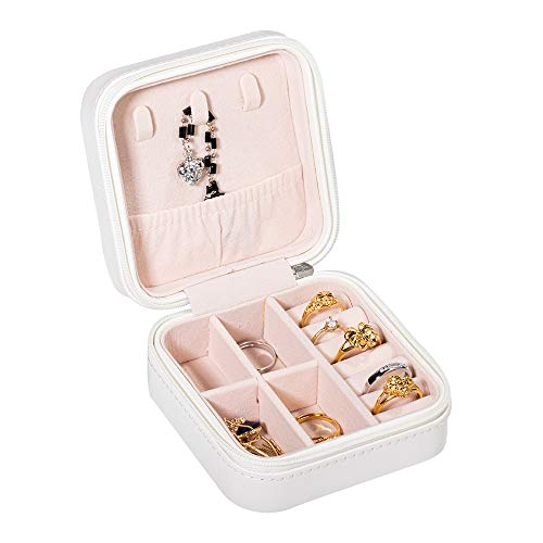 Molshine - Caja organizadora de joyas, caja de almacenamiento para mujer, anillo de viaje, collar, pendientes, pulsera portátil