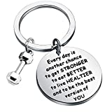 FEELMEM Workout Jewelry Fitness Gift Every Day is Another Chance to Get Stronger Dumbbell Charm Bodybuilding Keychain Weight Lifting Gift for Fitness Lover Personal Trainer