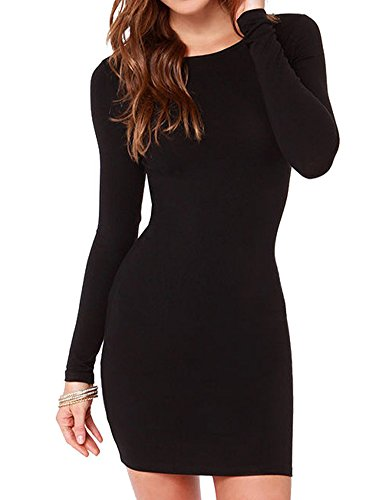 Haola Women's Sexy Casual Long Sleeve Short Dress Mini Dress S Black