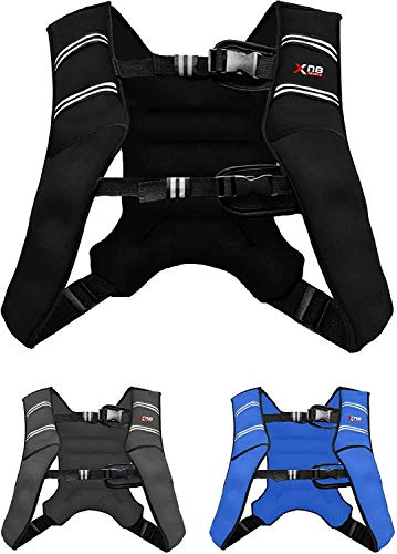 XN8 Verstellbar Gewichtsweste 8kg & 10kg Fitnessweste- Neopren Trainingsweste für Krafttraining- Laufen- Fitness- Muskelaufbau (Dunkles Schwarz, 5Kg)