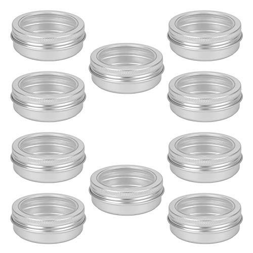 AUTUUCKEE 10 piezas de aluminio redondo puede pesca línea vacío tarro té especias velas tornillo superior (tamaño: 10 piezas)