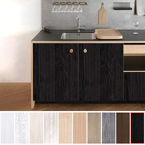 KINLO Klebefolie Deko Schwarz 5x0.61M Aufkleber Wasserdicht Folie für Tisch Küchefolie Natur Motiv Dekofolie für Schrank