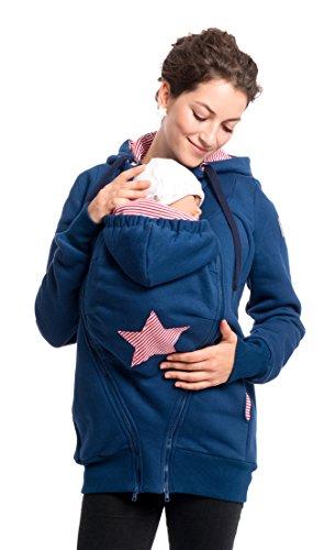 Viva la Mama Sweatjacke für Babytragen Jacke mit Trageeinsatz Jacke schwanger Tragepullover Sweat Kängurujacke Mama und Baby - CASSIO blau - M