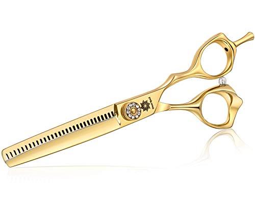 Dream Reach Tijeras para el cabello Tijeras de peluquería Tijeras de adelgazamiento Tijeras de pelo afiladas Acero inoxidable japonés 440C para adelgazar y dar forma Mejor regalo Oro