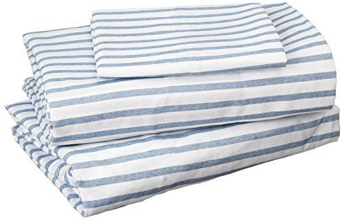 Madison Park Essentials Sheet Set Printed ultra soft, Twin, Blue Stripe