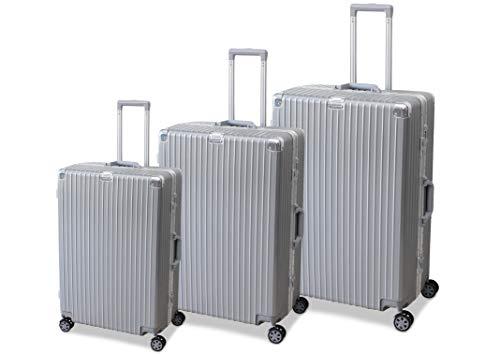 ORMI Set 3 Trolley In ABS e Alluminio 8 Ruote Con Lucchetto TSA (Argento)