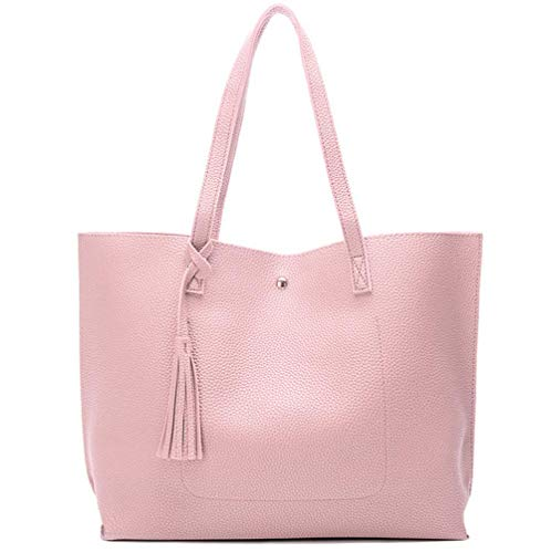 Nodykka Women Tote Bags Top Handle Satchel Handbags PU Pebbled Leather Tassel Shoulder Purse,One Size,Pink