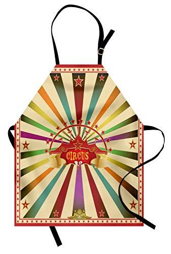 ABAKUHAUS Circus Keukenschort, Uitnodiging Vintage Tent, Unisex Keukenschort met Verstelbare Nekband voor Koken en Tuinieren, Veelkleurig