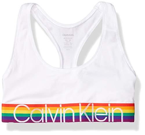 Calvin Klein Women's Modern Cotton-Bralette, White Rainbow, S