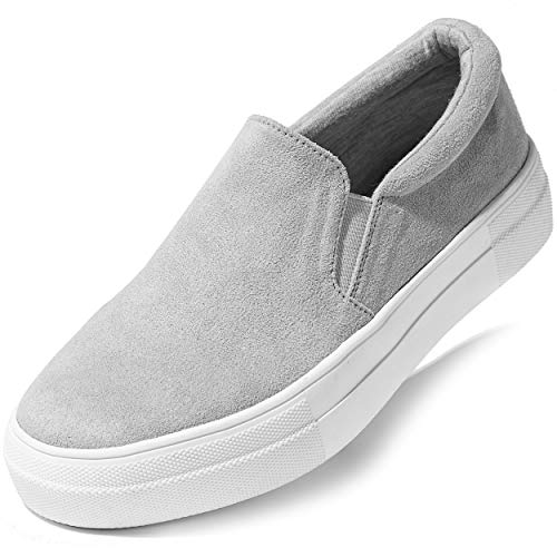 DailyShoes Platform Casual Slip-on Sneakers Flat Ankle Sexy Wild Simple Style Toe Summer Date Party Dress Shoes Ballet Flats Skate Walking Grey SV,8.5