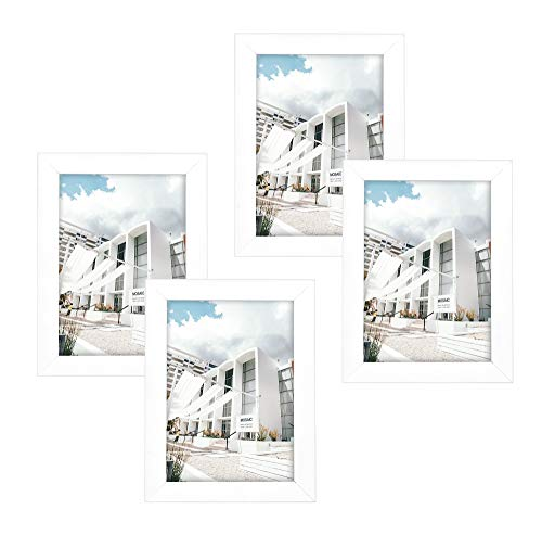 Golden State Art Set of 4, 5x7 Simple Wood Picture Frame - Table/Desk Top - Easel Stand - Back Hanger - Wall Display -White Color - Real Glass 5x7 (4-Pack), White