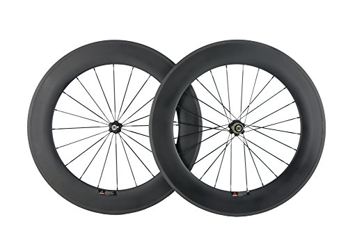 WINDBREAK BIKE 100% Carbon Fiber 88mm Depth Clincher Wheelset Road Bike Wheels 700c
