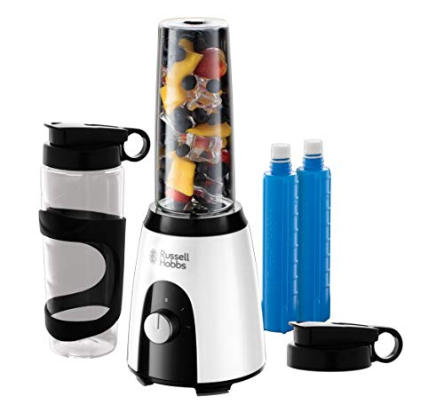 Russell Hobbs Mixer & Go Standmixer (400 Watt, 23.000 U/min, inkl. Kühlakkus, 2 BPA-freie & spülmaschinenfeste Tritan-Behälter 600ml), Ice-Crush, Profi Smoothie Maker, Horizon Boost 25161-56