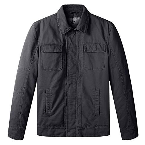 WenVen Men's Military Vintage Tactical Winter Jackets Coats(Grey,Small)