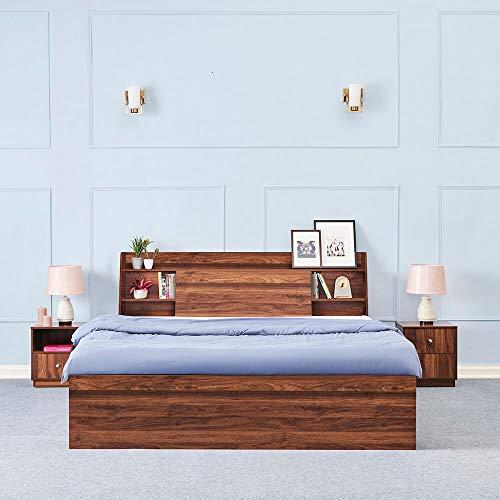 Wakefit King Size Leo Engineered Wood Platform Bed with Storage - (Matte Finish_Brown)