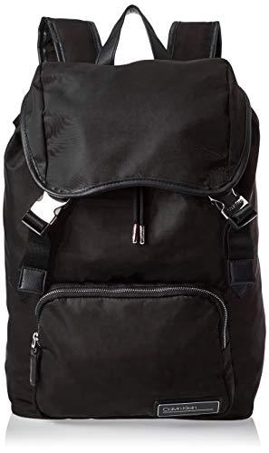 Calvin Klein Herren Primary Backpack W Flap Schultertasche, Schwarz (BLACK), 42x30x15cm